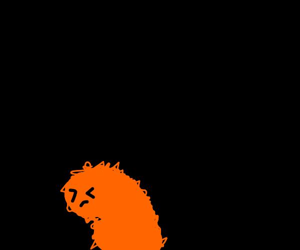 furry orange blob creature turns in shame