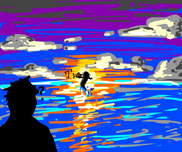 man confused by man in the seas with trumpet