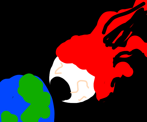 eyeball from space descends upon the earth