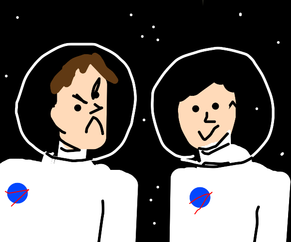One happy astronaut and one angry one