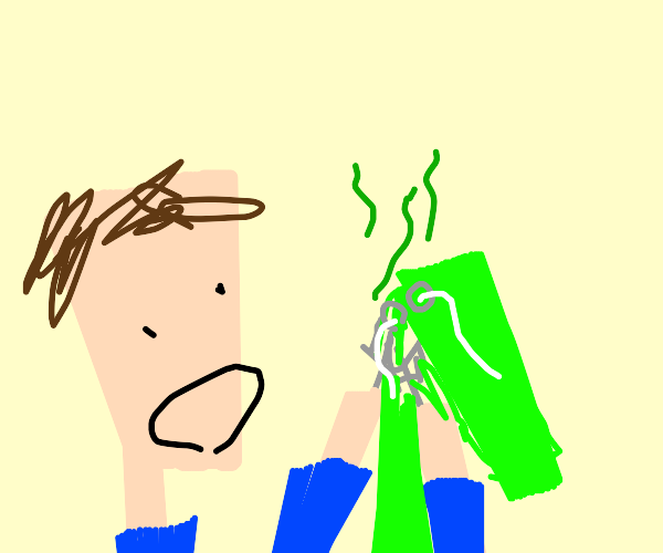 Boy with fork-hands eats stinky shorts