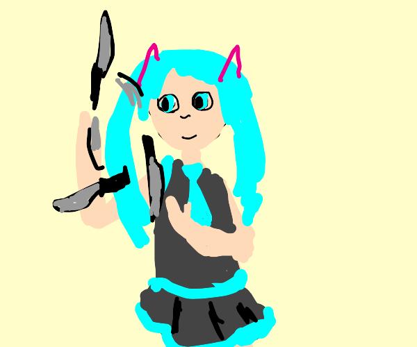 Miku juggling knives