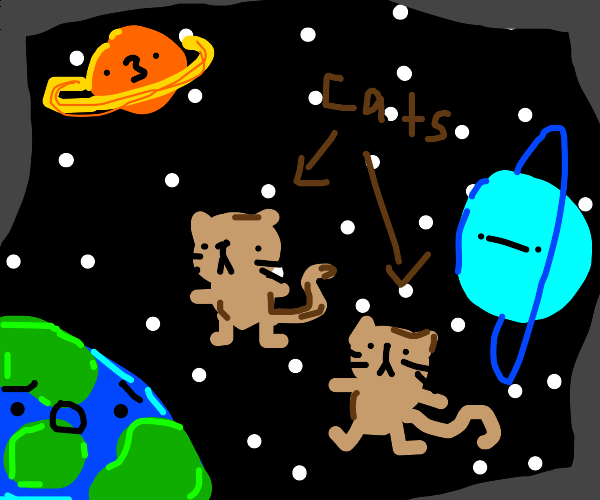 space cats with NO SPACE SUIT OR OXYGEN OH NO