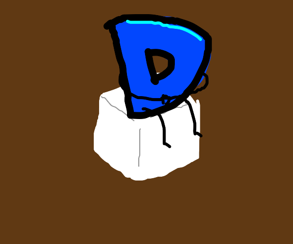 Drawception D on a sugar cube