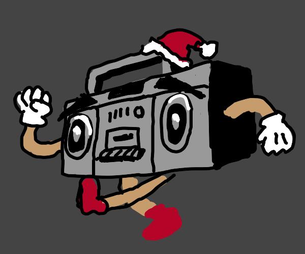 Boombox playing Christmas songs
