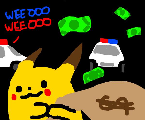 pikachu robs a bank