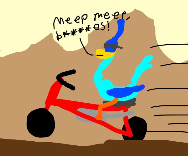 Roadrunner on a bike!