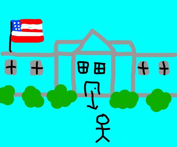 stick man walking out of grey White House