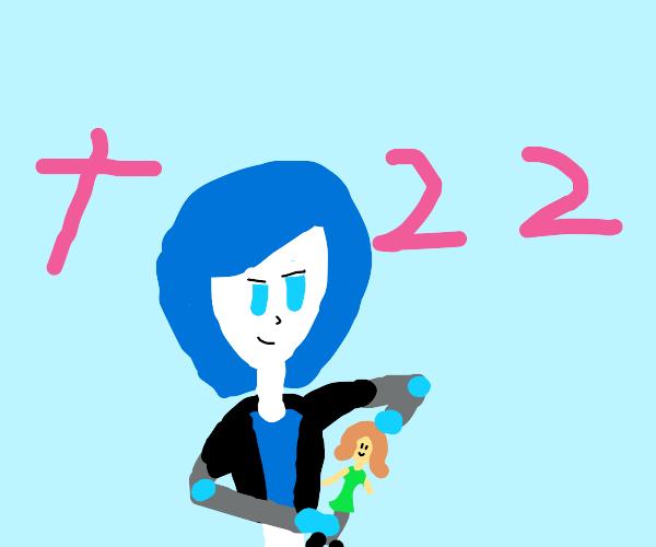 blue haired robot girl destroys doll