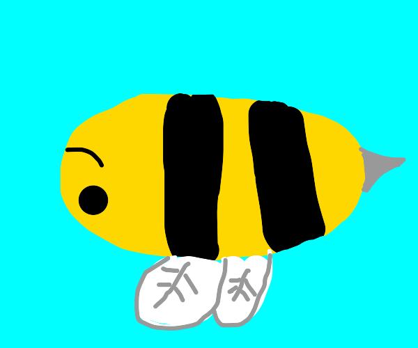 an upside down bee