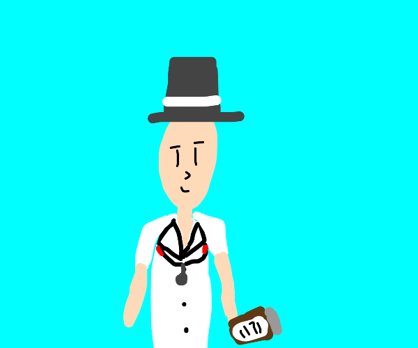 Man that looks like a doctor but wears a hat