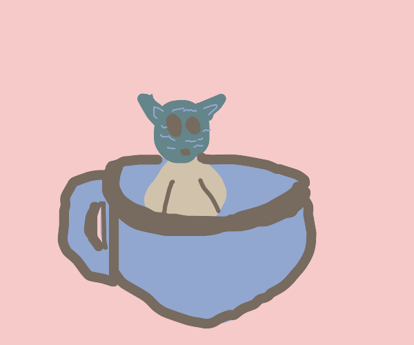 Baby Yoda is smol and sits in a teacup