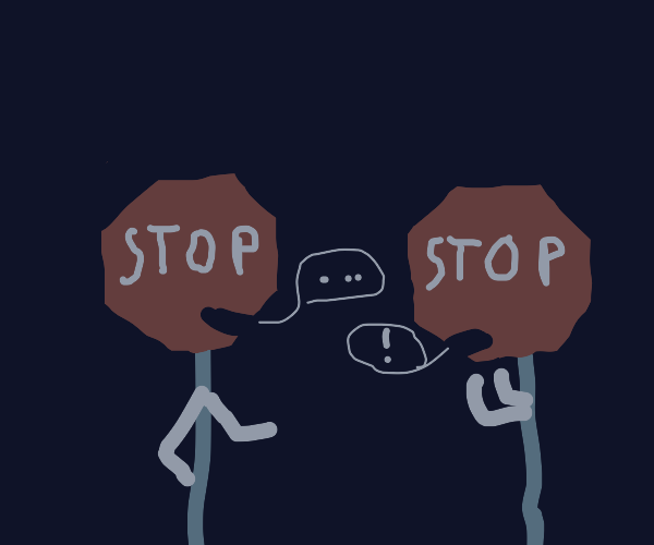 Two stop-signs talking
