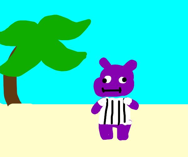 purple hippo on a beach