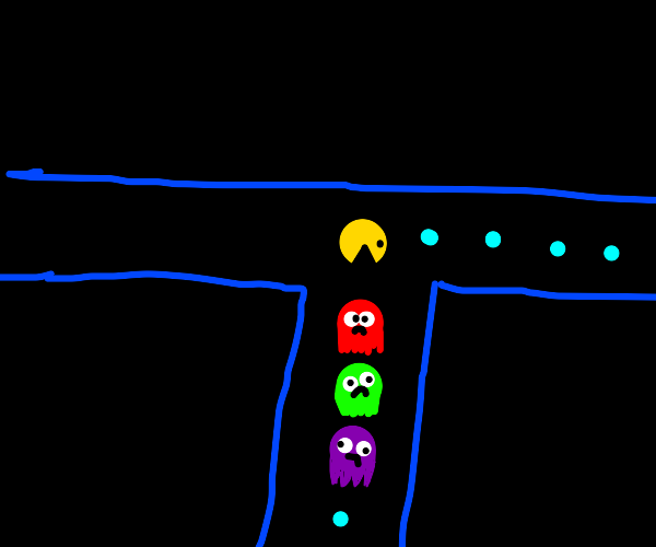 pac man chasing red green and purple ghosts
