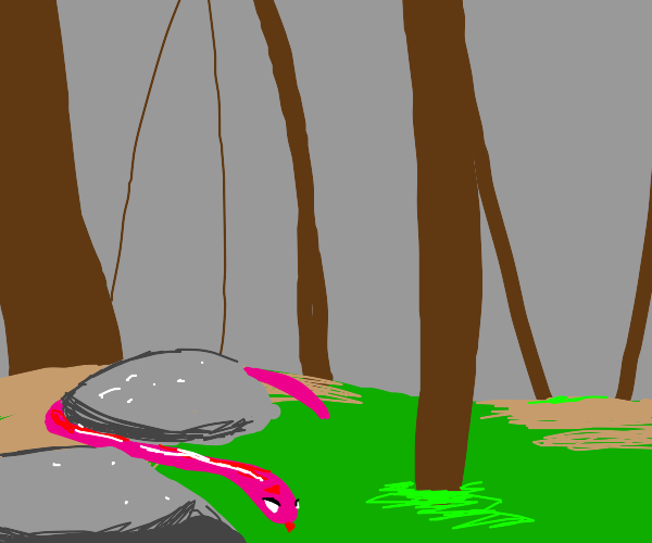 pink snake coming out from behind a rock