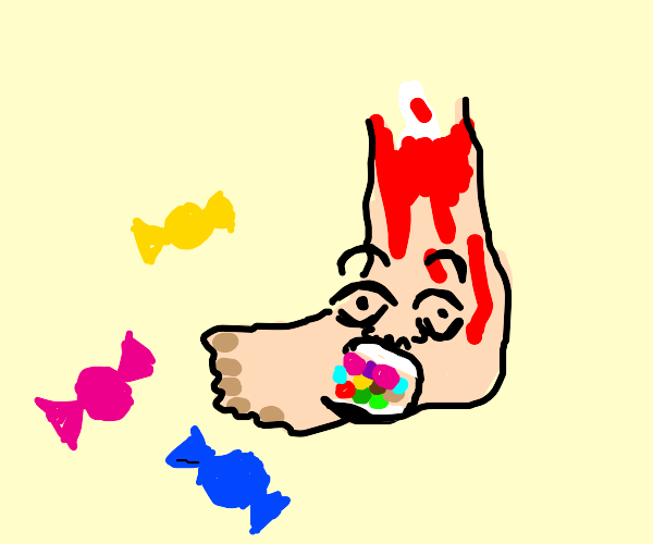 Amputated foot eats candy