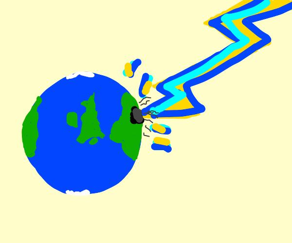 earth gets struck by lightning