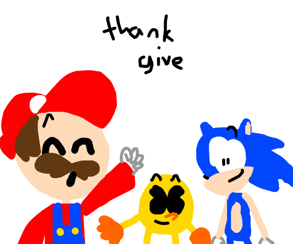 Classic videogame characters at thanksgiving