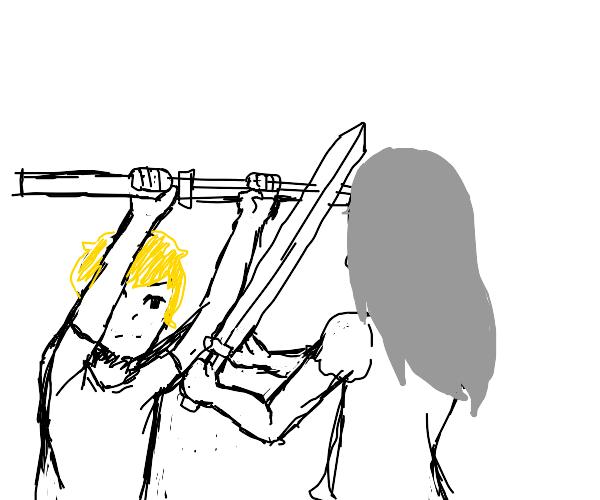 Blonde guy vs grey haired girl, sword fight