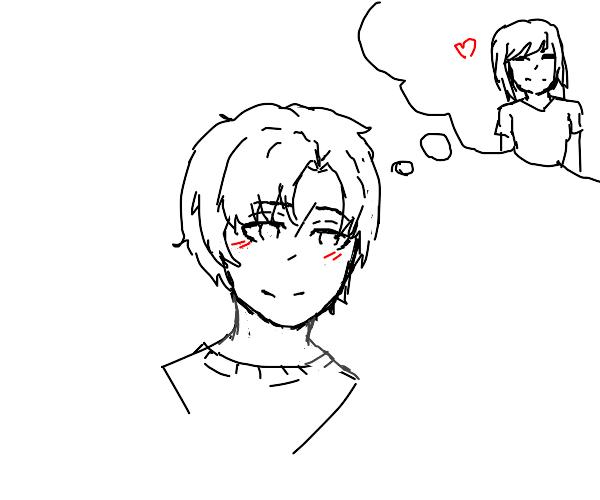 an anime boy in love