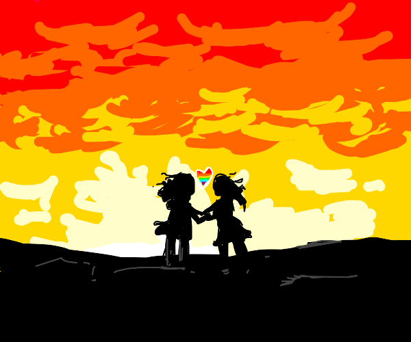 Lovers waking off into the sunset
