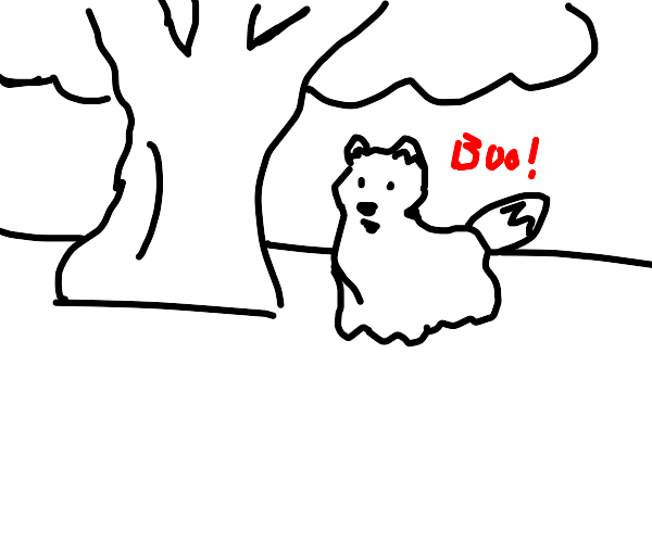 ghost fox under a tree