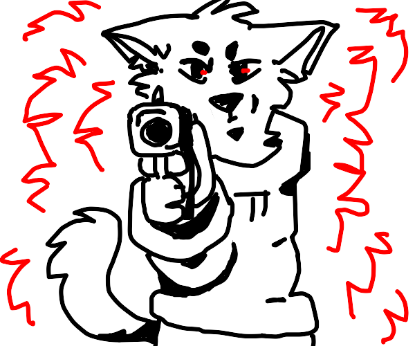 Furry points gun at you
