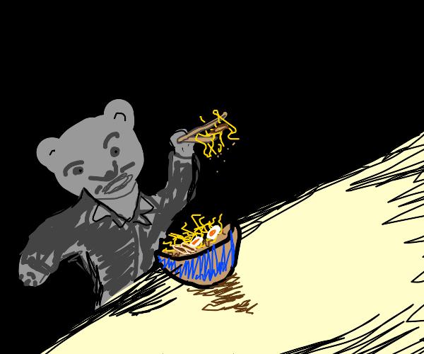 grey cat eat ramen