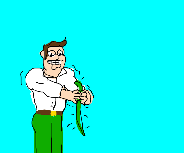 peter griffin attempting to strangle a snake.