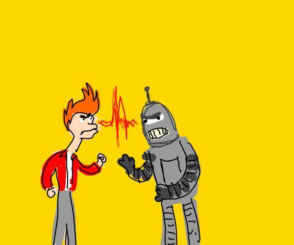 guy angry at robot