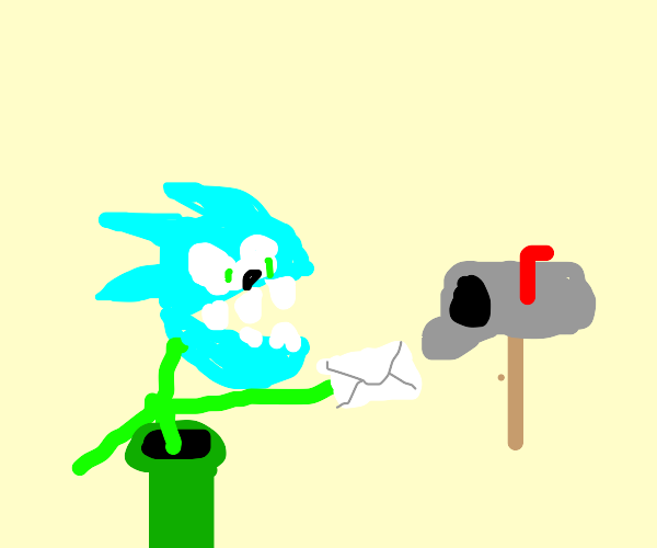 Teal sonic piranha gets his mail