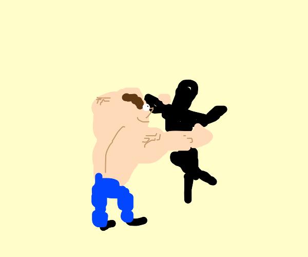 buff guy hugs his shadow