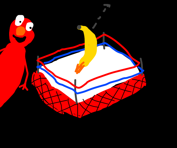 Elmo watching a banana fly in boxing ring