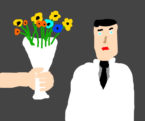 Giving flowers to a doctor