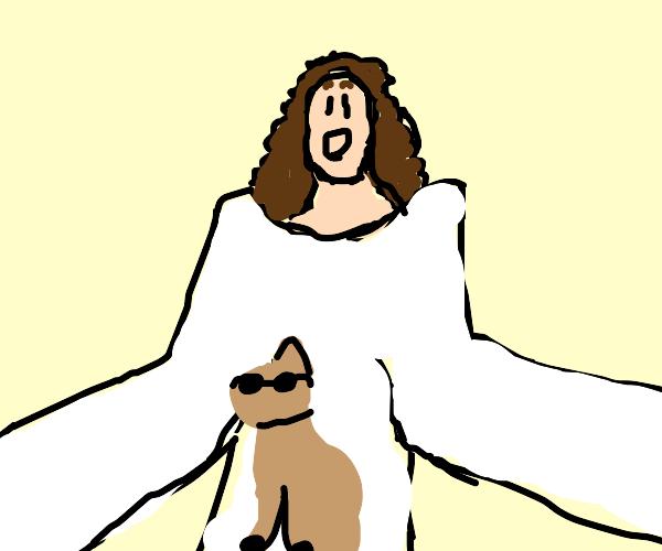 jesus amazed by cool cat