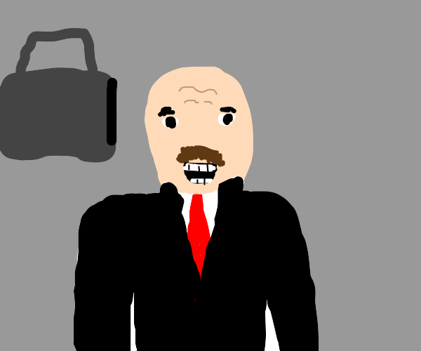 smiling bald businessman with mustache