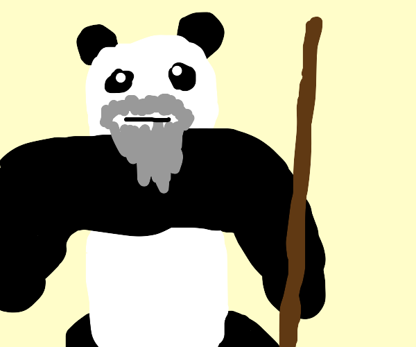Old panda with a stick
