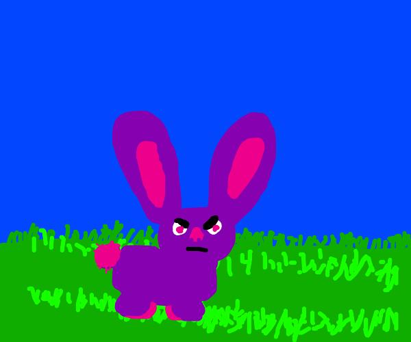 Angry purple rabbit