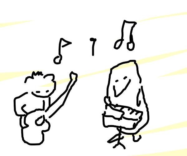 Koala and penguin playing music