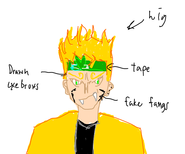 Low budget Dio cosplayer with tape headband