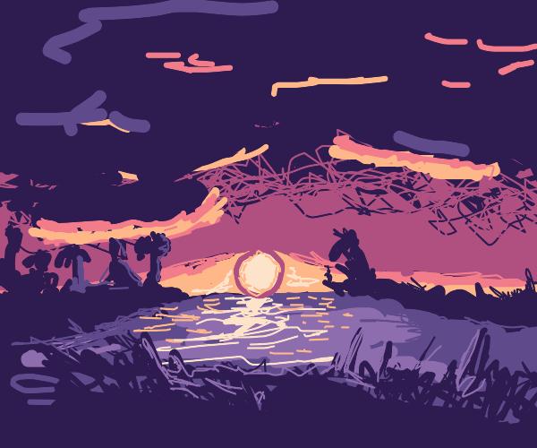 Purple sunset on a lake