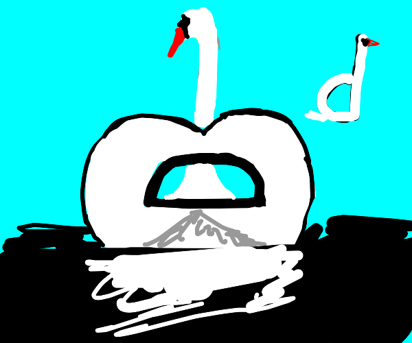 Graceful swan but its body is a D