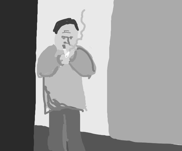 Grey man smokin'