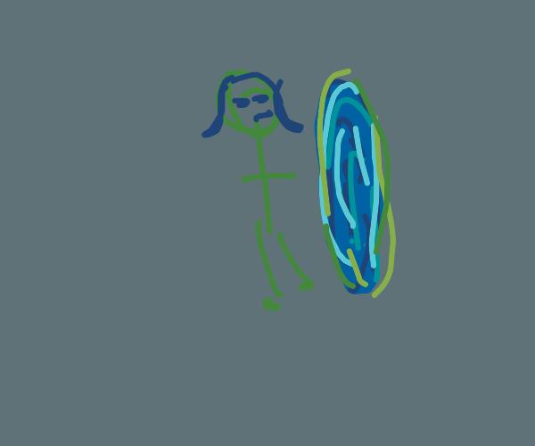 little girl escapes through a portal