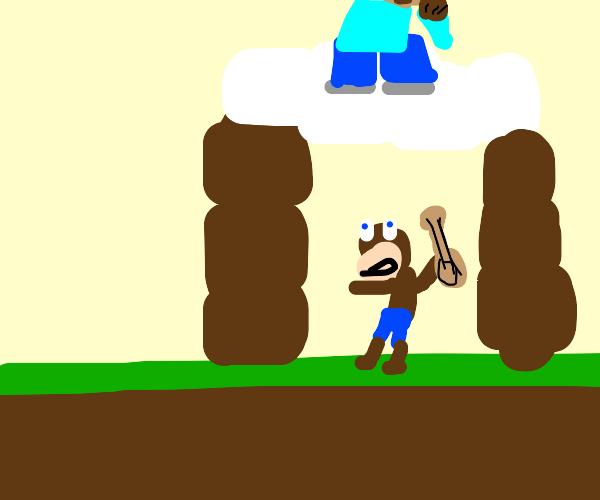 Steve taunts Banjo after getting into Smash