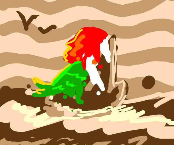 Ariel melted into sea foam