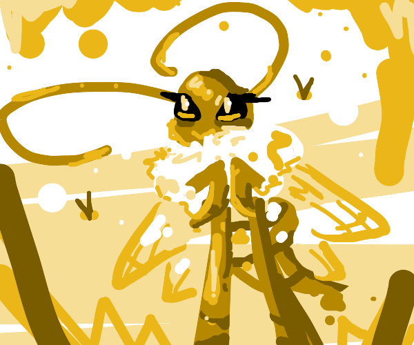 humanoid bee with fluffy neck
