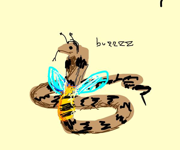 snake cosplaying as bee