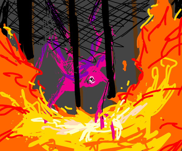 pink creature peers through the gates of fire
